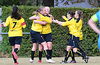 20190907 – PITTEM , BELGIUM : Egem's players pictured celebrating the goal of Yoica Dewulf and the 1-0 lead during a women soccer game between Dames DVK Egem  and Union Saint-Ghislain Tertre-Hautrage  on the second round matchday of the Belgian Women's Cup – Beker van Belgie -  season 2019-2020 , saturday 7th September  2019  in Pittem  , Belgium  .  PHOTO SPORTPIX.BE | DAVID CATRY