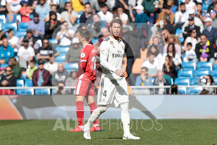 Real Madrid's Sergio Ramos dejected during La Liga match between Real Madrid and Girona FC at Santiago Bernabeu Stadium in Madrid, Spain. February 17, 2019. (ALTERPHOTOS/A. Perez Meca)