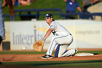 West Michigan Whitecaps first baseman Will Allen (16) stretches for a throw during a game against the Burlington Bees on July 25, 2016 at Fifth Third Ballpark in Grand Rapids, Michigan.  West Michigan defeated Burlington 4-3.  (Mike Janes/Four Seam Images)
