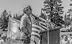 "Tuolumne Meadows, August 24, 1985:  Robert Redford shares his feelings.  Mount Ansel Adams, an 11,700 foot peak in a remote section of Yosemite National Park was dedicated Saturday, August 24, 1985, in a ceremony recognizing the famed photographer for his contribution to the American conservation movement. Adams was eulogized as a man who dedicated his life to photography and the preservation of planet Earth. The dedication ceremony was led by Adams' son, Dr. Michael Adams of Fresno, and attended by Adams' widow, Virginia Adams, Secretary of the Interior Donald Hodel, Sen. Alan Cranston, D-California, National Park Service Director William Penn Mott, actor Robert Redford, and other environmental and conservation leaders. In 1932, Ansel Adams and several Sierra Club companions first climbed the peak, according to Virginia Adams, who added that ""Ansel loved its tower shape. He called it 'The Tower' on the Lyell Fork of the Merced River. After they came down from climbing it, they sat around the campfire and one of them suggested that they name it Mount Ansel Adams."" Informally, that is what the Sierra Club did, calling the peak Mount Ansel Adams in the Sierra Club Guide until 53 years later the peak was finally officially named.  Photo by Al Golub/Golub Photography"