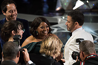 Oscar&reg; nominee Sally Hawkins, Oscar&reg; nominee Octavia Spencer and Host Jimmy Kimmel at The 90th Oscars&reg; at the Dolby&reg; Theatre in Hollywood, CA on Sunday, March 4, 2018.<br /> *Editorial Use Only*<br /> CAP/PLF/AMPAS<br /> Supplied by Capital Pictures