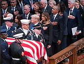 National funeral service in honor of the late former United States President George H.W. Bush at the Washington National Cathedral in Washington, DC on Wednesday, December 5, 2018.  Visible in the frame are former US Vice President Dan Quayle, Marilyn Quayle, US President Donald J. Trump, first lady Melania Trump, former US President Barack Obama former US President Bill Clinton and former US Secretary of State Hillary Rodham Clinton.<br /> Credit: Ron Sachs / CNP<br /> (RESTRICTION: NO New York or New Jersey Newspapers or newspapers within a 75 mile radius of New York City)