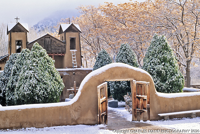 The Santuario de Chimayo lies covered ina fresh coat of winter snow in the  northern New Mexico village of Chimayo.