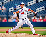 26 February 2019: Washington Nationals pitcher Tanner Rainey on the mound during a Spring Training game against the St. Louis Cardinals at the Ballpark of the Palm Beaches in West Palm Beach, Florida. The Nationals fell to the visiting Cardinals 6-1 in Grapefruit League play. Mandatory Credit: Ed Wolfstein Photo *** RAW (NEF) Image File Available ***