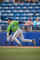 Lynchburg Hillcats second baseman Dillon Persinger (9) follows through on a swing during a game against the Salem Red Sox on May 10, 2018 at Haley Toyota Field in Salem, Virginia.  Lynchburg defeated Salem 11-5.  (Mike Janes/Four Seam Images)