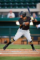 Bradenton Marauders right fielder Bligh Madris (17) at bat during the second game of a doubleheader against the Lakeland Flying Tigers on April 11, 2018 at Publix Field at Joker Marchant Stadium in Lakeland, Florida.  Bradenton defeated Lakeland 1-0.  (Mike Janes/Four Seam Images)