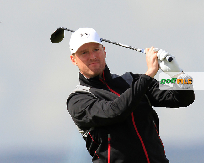 Thomas Hackett (USA) on the 3rd tee during Round 1 of the Irish Amateur Open Championship at Royal Dublin on Thursday 7th May 2015.<br /> Picture:  Thos Caffrey / www.golffile.ie