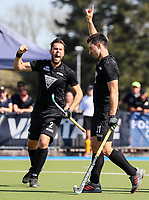 Kane Russell of the Blacksticks celebrates a goal during the Olympic Qualifying Hockey match between the Blacksticks Men and Korea, TET Multisport Centre, Stratford, New Zealand. Sunday 3 November 2019. Photo: Simon Watts/www.bwmedia.co.nz/HockeyNZ