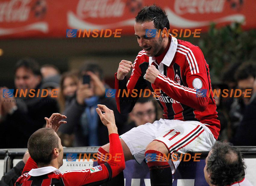 """Esultanza dopo il gol Giampaolo Pazzini Milan, goal Celebration Milano 2/3/2013 .Stadio """"S.Siro"""".Football Calcio 2012/2013 Serie A.Milan Vs Lazio.Foto Marco Bertorello Insidefoto"""