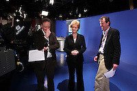 07/02/'11 TV3's Vincent Browne and Ursula Halligan and Andrew Hanlon - TV3 Director of News and Information   pictured in the TV3 Studios this evening rehearsing for tomorrow night's party Taoiseach's debate...Picture Colin Keegan, Collins.****NO REPRODUCTION FEE FOR PIC****