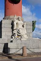 Rostra-Säule an der Strelka, St. Petersburg, Russland, UNESCO-Weltkulturerbe