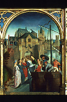Paintings:  Hans Memling (1433-1494)--Ursula shrine before 1489. Debarcation at Cologne.  Reference only.