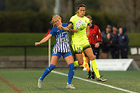 Allston, MA - Sunday, April 24, 2016: Boston Breakers midfielder Brittany Ratcliffe (11) and Seattle Reign FC defender Carson Pickett (16). The Boston Breakers play Seattle Reign during a regular season NSWL match at Harvard University.