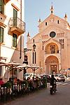 Verona Cathedral, Duomo Cattedrale di Santa Maria Matricolare and an outdoor cafe