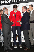 Real Madrid player Kaka (c) and the President Florentino Perez participate and receive new Audi during the presentation of Real Madrid's new cars made by Audi at the Jarama racetrack on November 8, 2012 in Madrid, Spain.(ALTERPHOTOS/Harry S. Stamper) .<br />