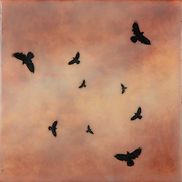 Encaustic photography of crows in flight