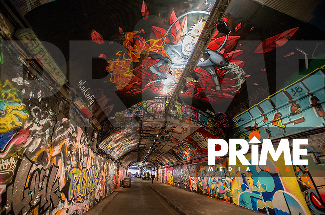 Street Art in Leake Street Tunnel, London, England on 23 January 2019. Photo by Andy Rowland.