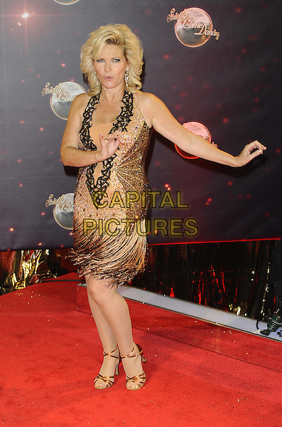 Fiona Fullerton<br /> The red carpet launch for 'Strictly Come Dancing' at Elstree Studios, Borehamwood, England.<br /> September 3rd, 2013<br /> full length dress hands arms fringed gold embellished jewel encrusted spinning twirling <br /> CAP/FIN<br /> &copy;Steve Finn/Capital Pictures
