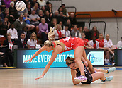 10th September 2017, PG Arena, Napier, New Zealand; Taini Jamison Netball Trophy, New Zealand versus England;  New Zealands Claire Kersten gets a knee to the head from Chelsea Pitman