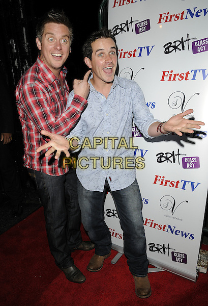 DICK & DOM - Richard McCourt & Dominic Wood .At the First News 4th Birthday Party Studio Valbonne nightclub, London, England, UK, 10th June 2010..full length red checked check plaid shirt hand finger gesture pointing jeans blue funny  .CAP/CAN.©Can Nguyen/Capital Pictures.