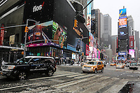 NEW YORK, NY - 09.02.2017 - NEVE-NEW YORK - Primeira tempestade de neve de 2017 É é vista na Times Square na cidade de New York nos Estados Unidos nesta quinta-feira, 09. (Foto: Vanessa Carvalho/Brazil Photo Press)