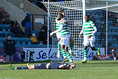 17th March 2019, Dens Park, Dundee, Scotland; Ladbrokes Premiership football, Dundee versus Celtic; Odsonne Edouard of Celtic is congratulated after scoring for 1-0 by in the 96th minute