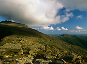 Appalachian Trail - Cloud cover engulfs Mount Washington(left) from Clay Loop Trail. The southern presidential range can be seen off in the distance. Located in White Mountains, New Hampshire USA
