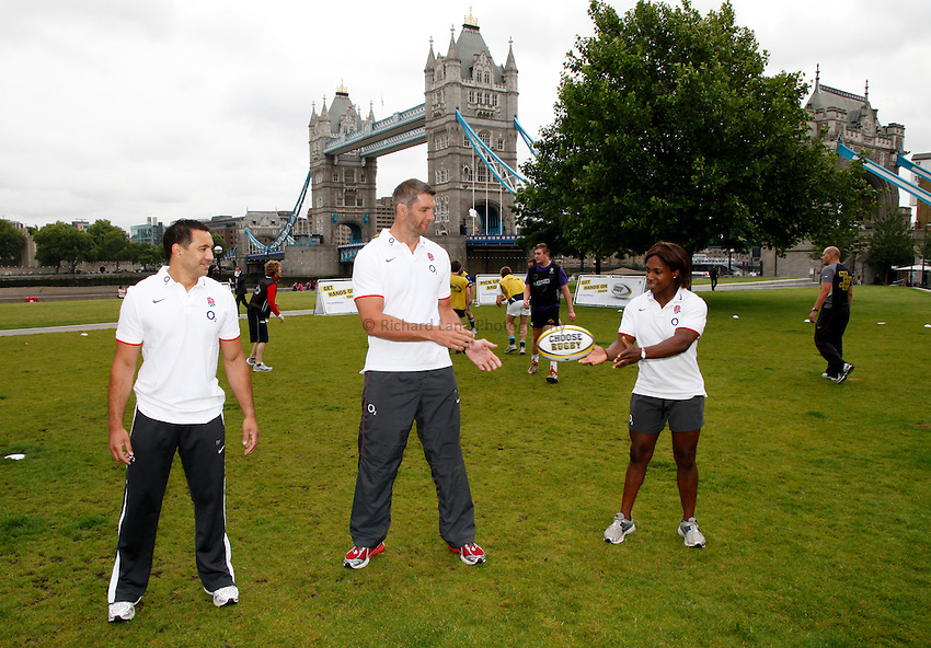 Photo: Richard Lane/Richard Lane Photography. O2 Touch Launch, an RFU initiative aiming to get England playing touch rugby at Potters Field, London. 17/06/2011. (lt to rt) England's Riki Flutey, Simon Shaw and Maggie Alphonsi.