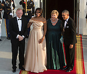 United States President Barack Obama and First Lady Michelle Obama welcome Erna Solberg, Prime Minister of Norway (2nd right) and spouse Sindre Finnes (left) as they arrive May 13, 2016 at The White House in Washington, DC to attend a State Dinner while participating in the U.S.- Nordic Leaders Summit. <br /> Credit: Chris Kleponis / CNP