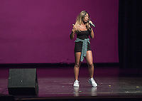 Euella Jackson performs. Occidental College students perform and compete during Apollo Night, one of Oxy's biggest talent showcases, on Friday, Feb. 26, 2016 in Thorne Hall. Sponsored by ASOC, hosted by the Black Student Alliance as part of Black History Month.<br /> (Photo by Marc Campos, Occidental College Photographer)