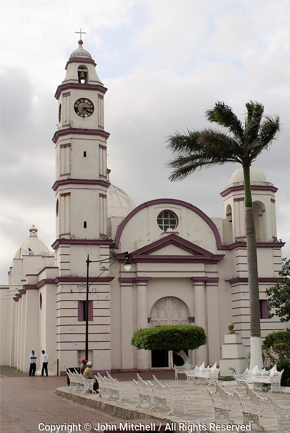 San Cristobal parish church in the Spanish colonial river town of Tlacotalpan, Veracruz, Mexico. Tlacotlapan was made a UNESCO World Heritage Site in 1998.