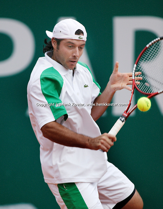 18-4-06, Monaco, Tennis,Master Series, Grosjean in action against Verdasco