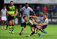 Rory Jennings of Bath Rugby tackles a Leinster player. Pre-season friendly match, between Leinster Rugby and Bath Rugby on August 26, 2016 at Donnybrook Stadium in Dublin, Republic of Ireland. Photo by: Patrick Khachfe / Onside Images