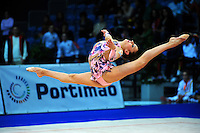 Evgeniya Kanaeva of Russia performs split leap at 2009 World Cup at Portimao, Portugal on April 18, 2009.  (Photo by Tom Theobald).