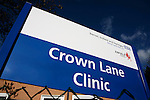 The sign of the NHS Crown Lane Clinic in Southgate, London, England. Royalty Free