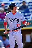 Cam Perkins (27) of the Reading Fightin Phils during a game versus the Portland Sea Dogs at Hadlock Field in Portland, Maine on May 23, 2015.  (Ken Babbitt/Four Seam Images)