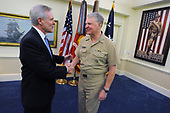 In this photo released by the United States Department of Defense, Secretary of the Navy (SECNAV) the Honorable Ray Mabus is congratulated by Chief of Naval Operations Adm. Gary Roughead after his swearing in ceremony Tuesday, May 19, 2009 at the Pentagon in Washington, DC. Mabus is the 75th Secretary of the Navy. <br /> Mandatory Credit: Kevin S. O'Brien/DoD via CNP