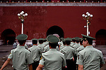 Military police officers march towards the entrance of the Forbidden City in Beijing, China on Sunday, August 10, 2008.  Kevin German