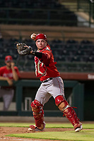 AZL Angels catcher Connor Fitzsimons (6) throws to first base after fielding a bunt during a game against the AZL Giants on July 10, 2017 at Scottsdale Stadium in Scottsdale, Arizona. AZL Giants defeated the AZL Angels 3-2. (Zachary Lucy/Four Seam Images)