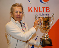 March 5, 2015, Netherlands, Hilversum, Tulip Tennis Center, NOVK, Final Lady's 80+ , winner Bea Nerden (NED) with the trophy<br /> Photo: Tennisimages/Henk Koster
