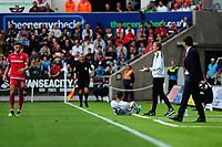 o Graham Potter Manager of Swansea City in action during the Sky Bet Championship match between Swansea City and Nottingham Forest at the Liberty Stadium, in Swansea, Wales, UK. Saturday 15 September 2018