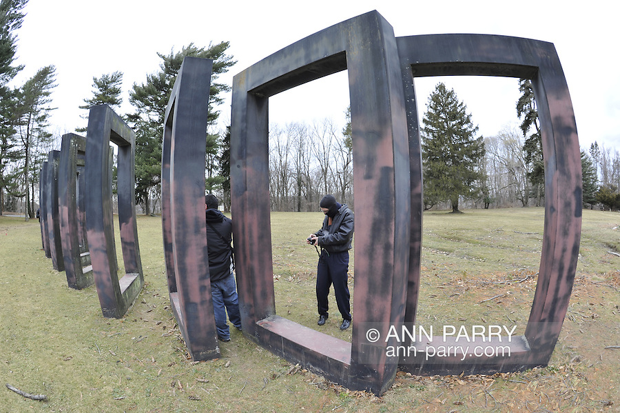 Nassau County Museum of Art, Allen Bertoldi sculpture 'Redbank 31 - Nassau Variation - on February 12, 2012, in Roslyn Harbor, New York, USA