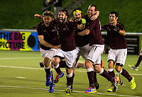 Hutt players celebrate scoring in extra time during the Wellington premier men's hockey final between Dalefield and Hutt at The National Hockey Stadium, Wellington, New Zealand on Saturday, 12 August 2017. Photo: Dave Lintott / lintottphoto.co.nz