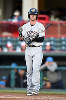 Akron RubberDucks outfielder Tyler Naquin (4) at bat during a game against the Erie SeaWolves on May 17, 2014 at Jerry Uht Park in Erie, Pennsylvania.  Erie defeated Akron 2-1.  (Mike Janes/Four Seam Images)