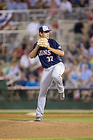 Hagerstown Suns relief pitcher Philip Walby (37) in action against the Kannapolis Intimidators at Kannapolis Intimidators Stadium on July 4, 2016 in Kannapolis, North Carolina.  The Intimidators defeated the Suns 8-2.  (Brian Westerholt/Four Seam Images)