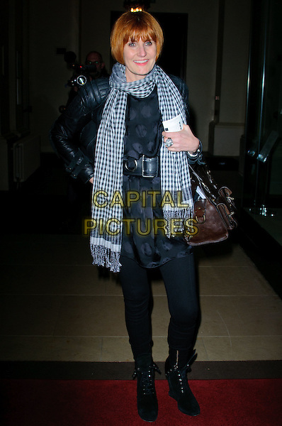 "MARY PORTAS .The ""Royal Opera, Anna Nicole"" performance at the Royal Opera House, London, England. .February 17th, 2011.full length dress leggings boots black blue white gingham scarf .CAP/CJ.©Chris Joseph/Capital Pictures."