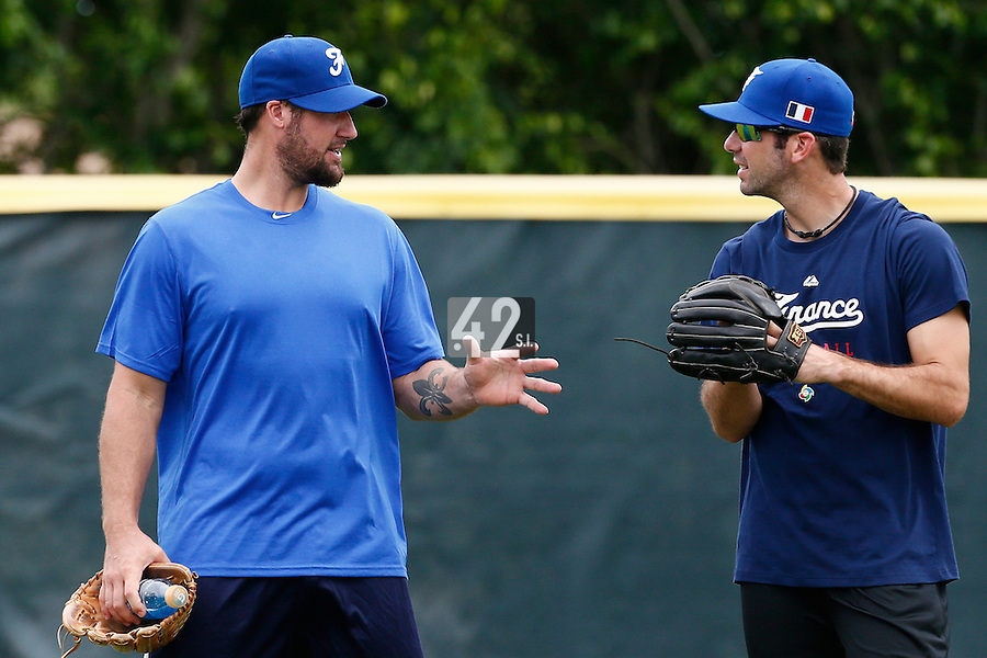 19 September 2012: France Eric Gagne talks to Pierrick Le Mestre prior to Team France friendly game won 6-3 against Palm Beach State College, during the 2012 World Baseball Classic Qualifier round, in Lake Worth, Florida, USA.