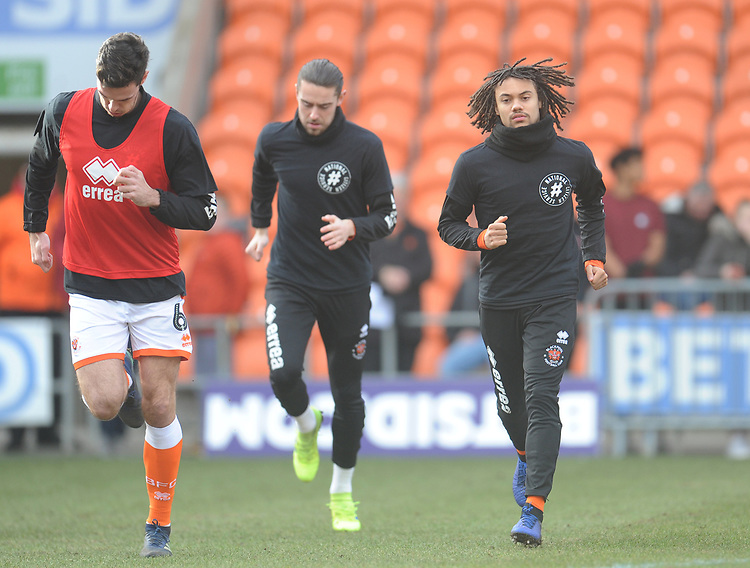 Blackpool squad during the pre-match warm-up <br /> <br /> Photographer Kevin Barnes/CameraSport<br /> <br /> The EFL Sky Bet League One - Blackpool v Walsall - Saturday 9th February 2019 - Bloomfield Road - Blackpool<br /> <br /> World Copyright &copy; 2019 CameraSport. All rights reserved. 43 Linden Ave. Countesthorpe. Leicester. England. LE8 5PG - Tel: +44 (0) 116 277 4147 - admin@camerasport.com - www.camerasport.com