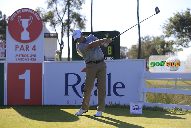 David Higgins (IRL) tees off the 1st tee during Friday's Round 2 of the 2014 Open de Espana held at the PGA Catalunya Resort, Girona, Spain. Wednesday 16th May 2014.<br /> Picture: Eoin Clarke www.golffile.ie