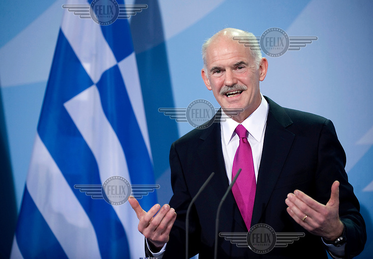 Georgios Papandreou, Greek prime minister, at a press call.